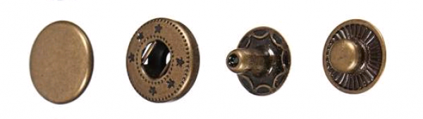 Кнопка нержавеющая №54 15мм цв.антик(в упак.1000шт)