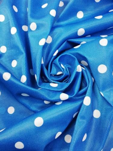 Ткань нейлон горошки 100%ПЭ 155см цв.голубой(в рул.100м)