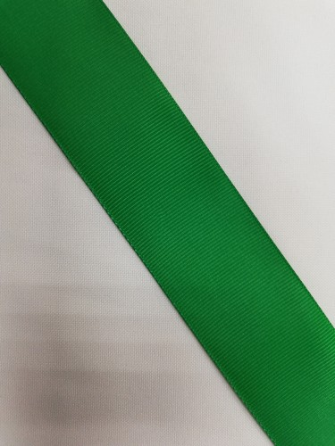 Репсовая лента блестящая 38мм цв.17-6030 зелёный(в рул.100м)