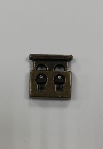 6 Фиксатор металлический декоративный двухдыроччный цв.антик(в упак.1000шт)