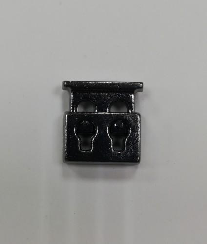 6 Фиксатор металлический декоративный двухдыроччный цв.ч.никель(в упак.1000шт)