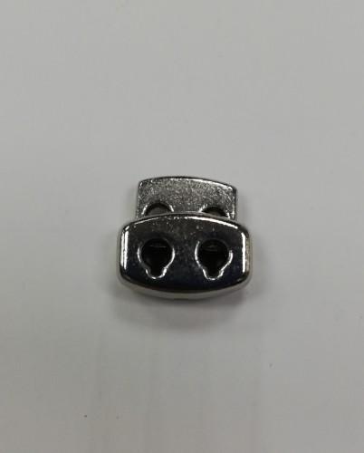 8 Фиксатор металлический декоративный двухдыроччный цв.никель(в упак.1000шт)