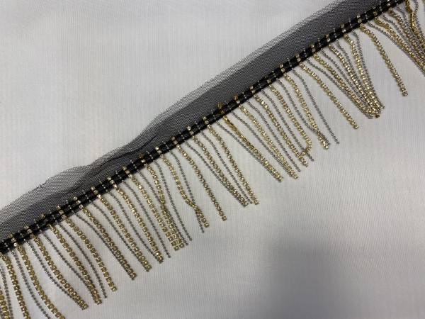 Бахрома металлическая со стразами на черной тесьме 6,5см цв.золото(в упак.20м)