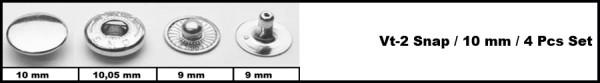Кнопка стальная VT-2 9,5мм цв.никель(в упак.1440шт)