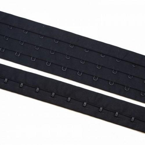 Бельевые застежки на тесьме 50мм 3-х рядный цв.черный(в рул.10м)