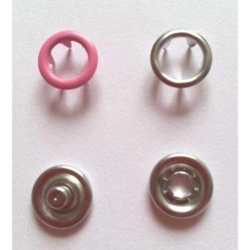 137 Кнопка нержавеющая трикотажная кольцевая 09,5мм цв.розовый(в упак.1440шт)