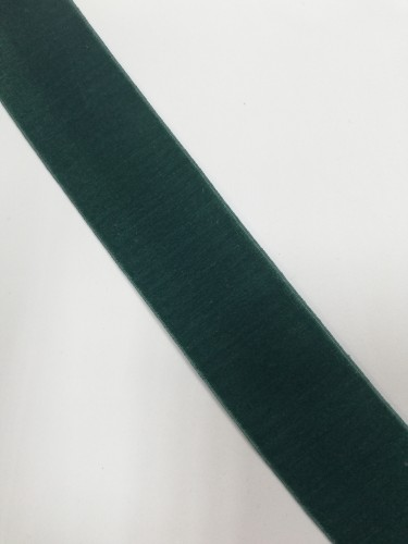 Бархатная лента эластичная 40мм цв.зеленый(в рул.~50м)
