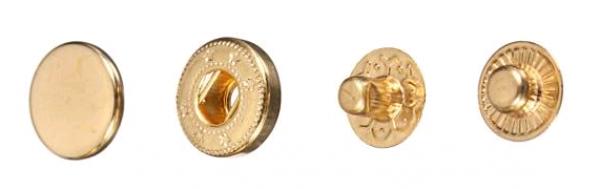 Кнопка стальная VT-2 9,5мм цв.золото(в упак.1440шт)