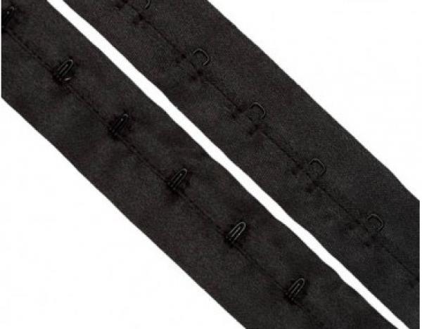 Бельевые застежки на тесьме 30мм цв.черный(в рул.10м)