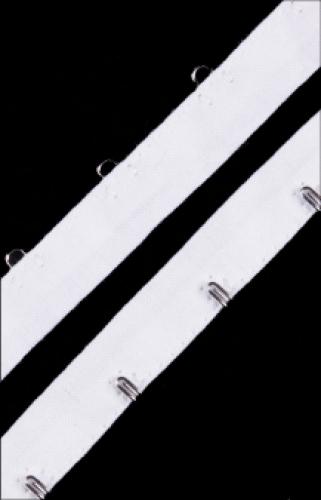 Бельевые застежки на тесьме 16мм цв.белый/никель(в рул.10м)