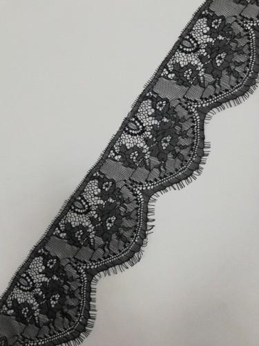 0286-1А Кружево реснички шир.9,5см цв.черный(в упак.30м)
