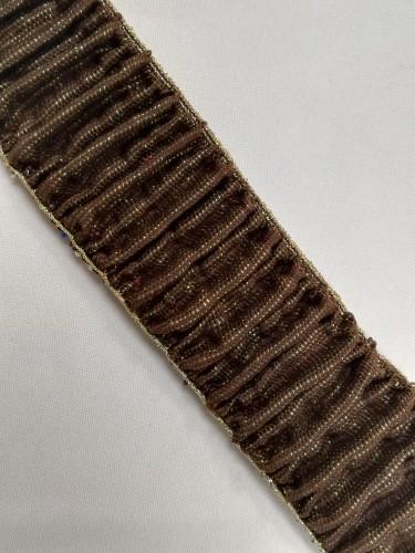 Резинка поясная с люриксом 50мм цв.коричневый (в рул.25м)
