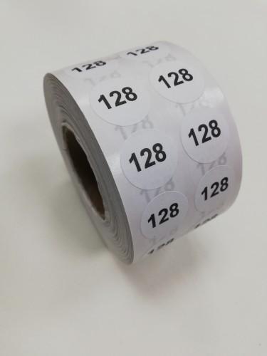 128 Размерники на самоклеящейся бумаге цв.белый(в рул.2500шт)
