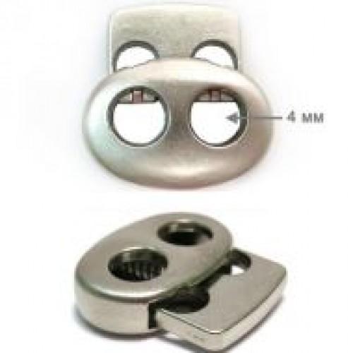 316TR Фиксатор металлизированный пластиковый двухдырочный малый плоский цв.никель(в упак.1000шт)