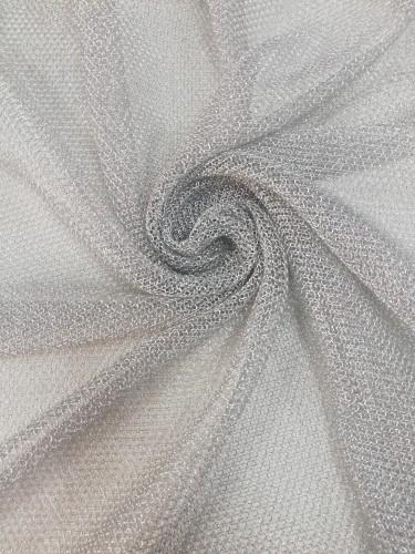 Ткань на сетке металлизированная шир.150см цв.серебряный(в рул.80м)