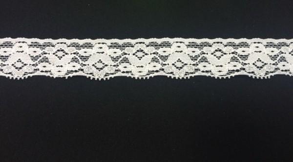 1072 Кружево эластичное полиэстер шир.2см цв.белый(в упак.30м)