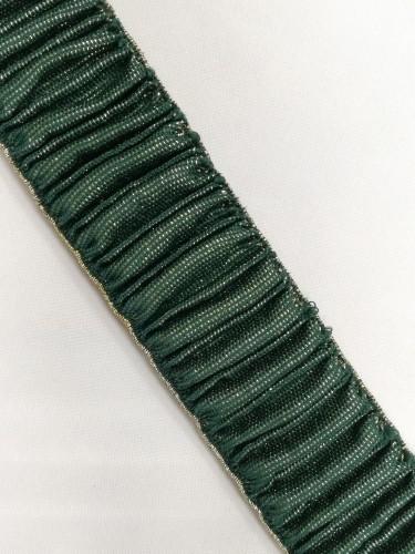 Резинка поясная с люриксом 50мм цв.темно-зеленый(в рул.25м)