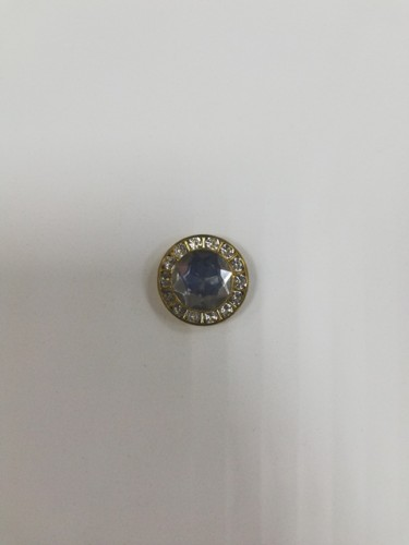 0720 Пуговица металлическая на ножке с белым камнем цв.золотистый(в упак.500шт)