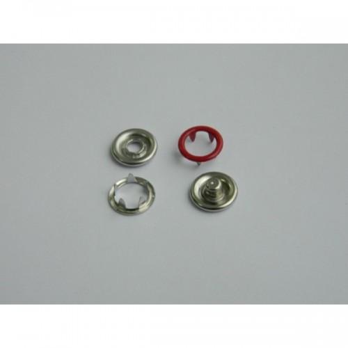 148 Кнопка нержавеющая трикотажная кольцевая 09,5мм цв.красный(в упак.1440шт)