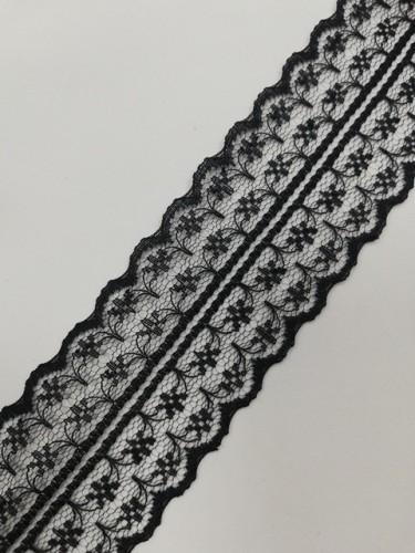 133-2А Кружево гипюровое полиэстер шир.4,5см цв.черный(в рул.300м)