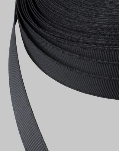 Репсовая лента блестящая 10мм цв.черный(в рул.200м)