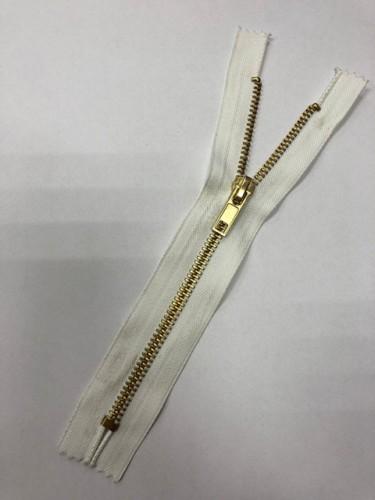 Молния джинсовая Т5 18см неразъемная золото цв.№101 белый(в упак.100шт)