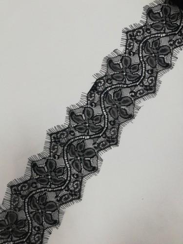 015А-V Кружево реснички шир.9см цв.черный(в упак.30м)