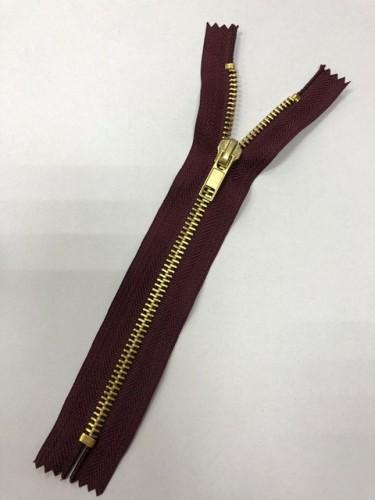 Молния джинсовая Т5 18см неразъемная золото цв.№179 бордо(в упак.100шт)
