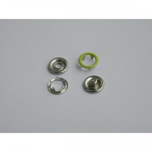 232 Кнопка нержавеющая трикотажная кольцевая 09,5мм цв.салатовый(в упак.1440шт)