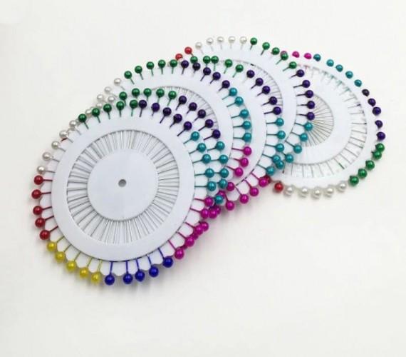 Булавки наметочные с бусинками 33мм цветные(в упак.360шт)
