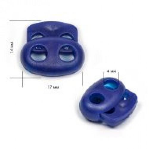 Фиксатор пластиковый двухдырочный большой плоский цв.т.синий(в упак.1000шт)