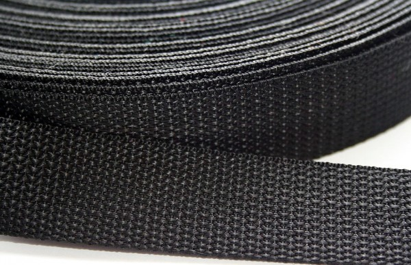 322 Стропа текстильная 35мм цв.черный(в рул.100м)