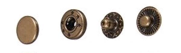 Кнопка стальная VT-2 9,5мм цв.антик(в упак.1440шт)