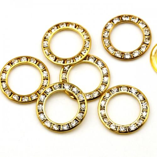 Люверсы со стразами нержавеющие 22мм цв.золото(в упак.100шт)